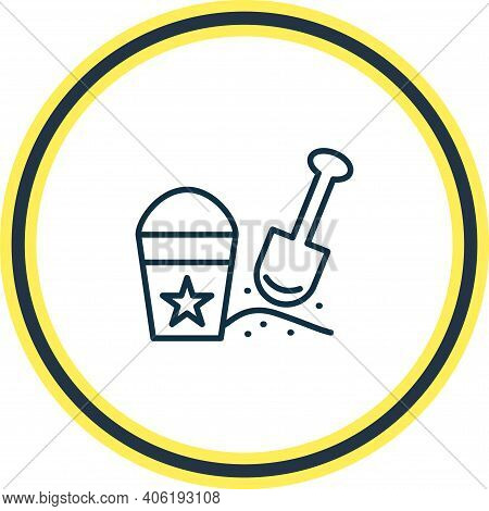Vector Illustration Of Sand Pail With Shovel Icon Line. Beautiful Baby Element Also Can Be Used As B