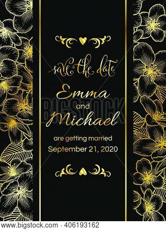 Floral Botanical Golden Frame With Apple Flowers. Dark Elegant Card Template. Luxury Design For Wedd