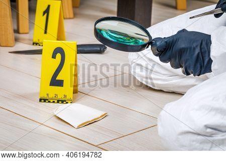 Crime Scene, Murder, Investigation, Police Find Evidence Taken As Evidence.