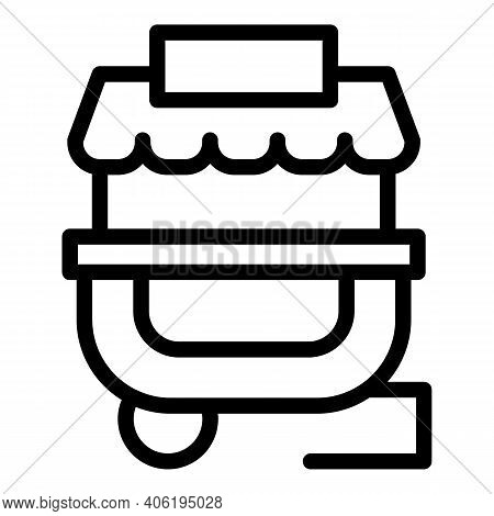 Street Food Stall Icon. Outline Street Food Stall Vector Icon For Web Design Isolated On White Backg