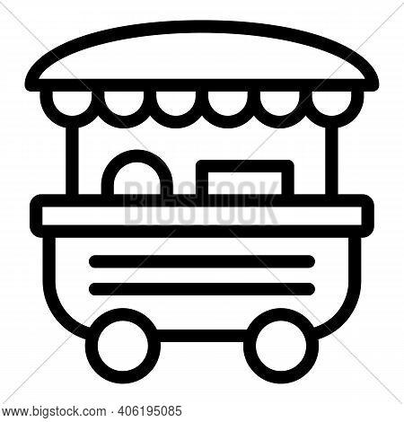 Hot Dog Vending Icon. Outline Hot Dog Vending Vector Icon For Web Design Isolated On White Backgroun