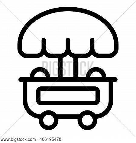 Junk Food Stand Icon. Outline Junk Food Stand Vector Icon For Web Design Isolated On White Backgroun