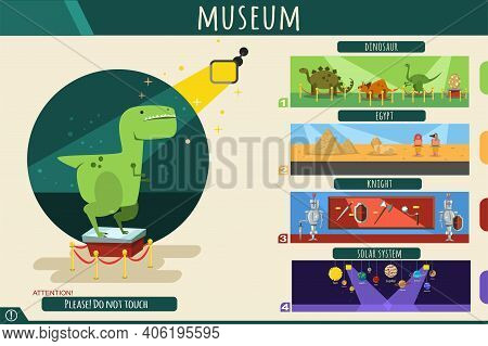 Museum Interior With Exhibits Of Prehistoric Dinosaurs, Knight Armor And Steel Arms, Ancient Egypt A
