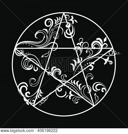 Ornate Floral Vines Pentagram, Magic Occult Star Symbol. Vector Illustration In White Isolated Over