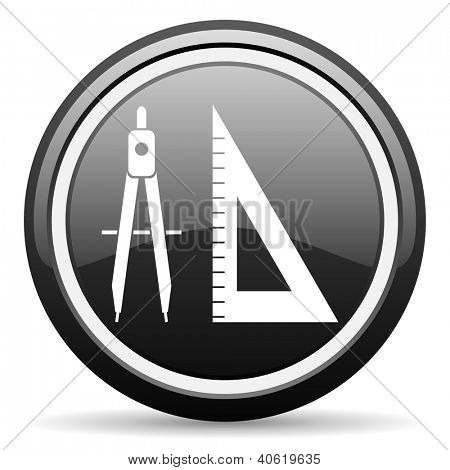 e-learning black glossy icon on white background