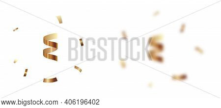 Realistic 3d Focus And Blurred Flying And Falling Yellow Gold Colored Confetti And Serpentine, Festi