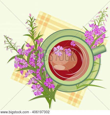 Herbal Tea With Epilobium Or Fireweed Inflorescences, Healing Drink. Russian Ivan - Tea Rich Infusio