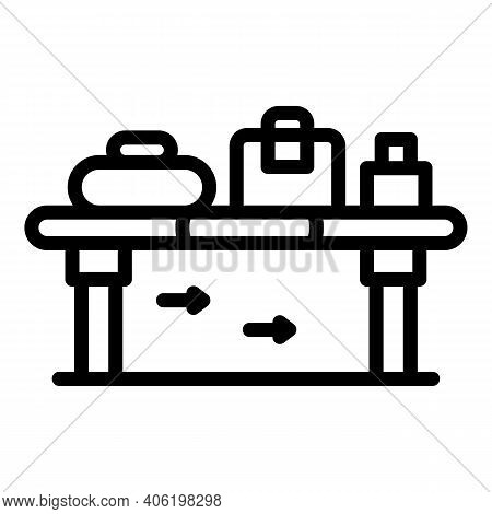 Luggage Control Icon. Outline Luggage Control Vector Icon For Web Design Isolated On White Backgroun