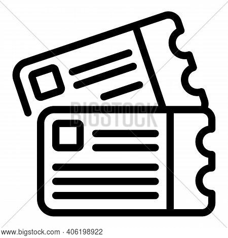 Fly Tickets Icon. Outline Fly Tickets Vector Icon For Web Design Isolated On White Background