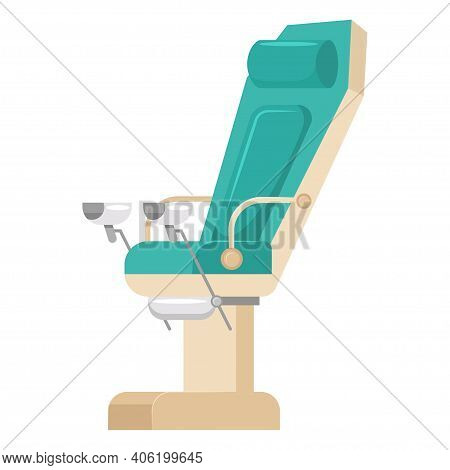 Gynecological Chair Vector Cartoon Flat Icon Isolated On White Background.