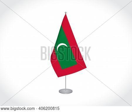 National Fabric Flag Of Maldives Isolated On White Background.