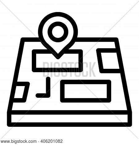 Map Gps Pin Icon. Outline Map Gps Pin Vector Icon For Web Design Isolated On White Background