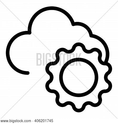 Mostly Cloudy Icon. Outline Mostly Cloudy Vector Icon For Web Design Isolated On White Background