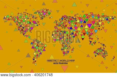 Abstract Colorful Geometric World Map With Triangles. Triangular Background