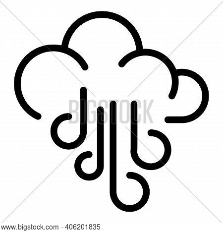 Windy Cloud Icon. Outline Windy Cloud Vector Icon For Web Design Isolated On White Background