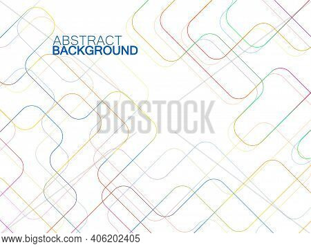 Abstract Technology Background With Colorful Communication Lines. Vector Illustration