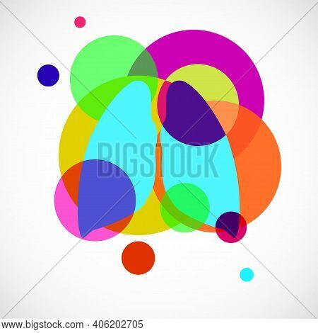 Human Lungs Logo, Colorful Circles With Overlapping. Vector Illustration