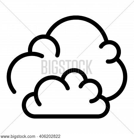 Fluffy Clouds Icon. Outline Fluffy Clouds Vector Icon For Web Design Isolated On White Background