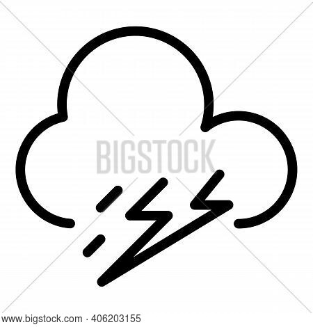 Storm Thunder Icon. Outline Storm Thunder Vector Icon For Web Design Isolated On White Background