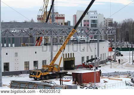 12.05.2020 Syktyvkar, Russia, Reconstruction Of A Sports Stadium, Construction Equipment And Cars Du