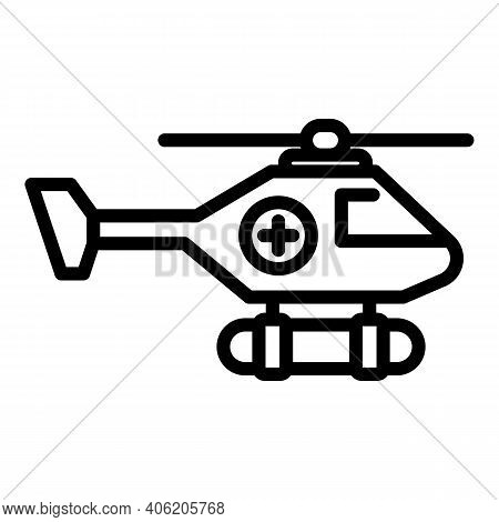 Coast Rescue Helicopter Icon. Outline Coast Rescue Helicopter Vector Icon For Web Design Isolated On
