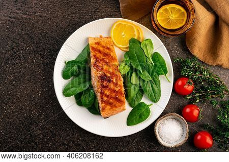 Baked Or Fried Salmon And Salad, Paleo, Keto, Fodmap, Dash Diet. Mediterranean Food With Steamed Fis