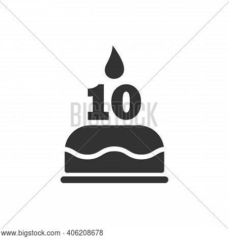 Happy Tenth Birthday Icon. Cake With A Candle In The Form Of The Number 10. Vector Symbol Eps 10