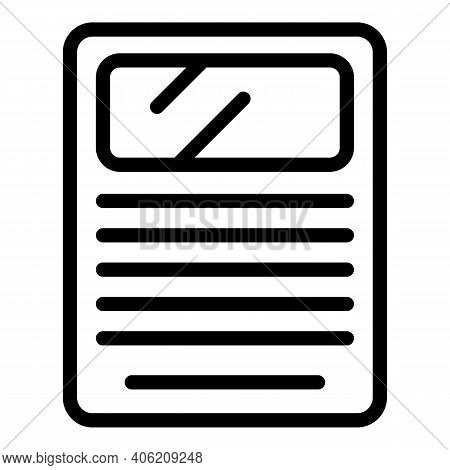 Column Newspaper Icon. Outline Column Newspaper Vector Icon For Web Design Isolated On White Backgro