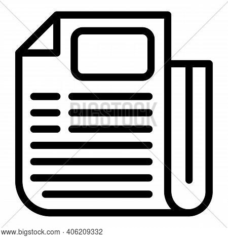 Linear Newspaper Icon. Outline Linear Newspaper Vector Icon For Web Design Isolated On White Backgro