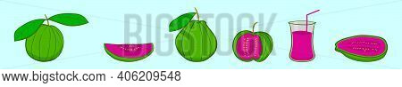 Set Of Guava Cartoon Icon Design Template With Various Models. Vector Illustration Isolated On Blue