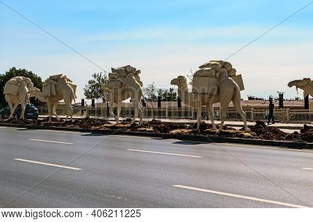 Gaziantep, Turkey - October 6, 2020: This Camel Caravan Is A Fragment Of A Modern Monument To The Gr