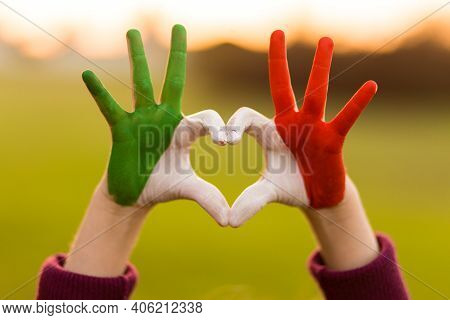 Heart Shape Of Kids Hand Painted In Italy Flag Colors, Kids Body Language, Childrens Love Concept. H
