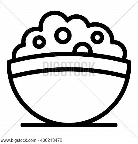 Sour Cream Bowl Icon. Outline Sour Cream Bowl Vector Icon For Web Design Isolated On White Backgroun