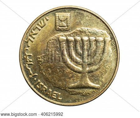 10 Israeli New Agora Coin On A White Isolated Background