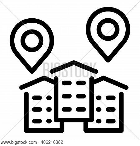 Gps New House Icon. Outline Gps New House Vector Icon For Web Design Isolated On White Background