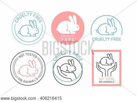 Cruelty Free Organic Natural Cosmetics Thin Line Icon Set, Symbols With Cute Bunny Rabbit