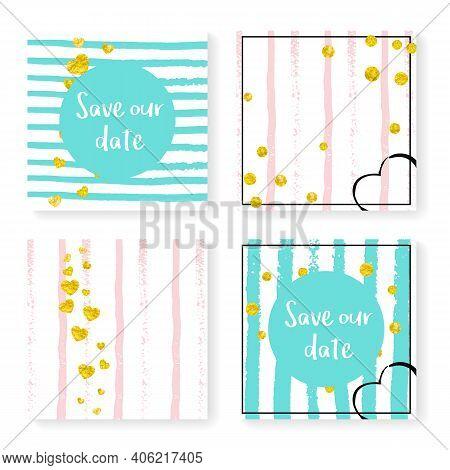Gold Dust Confetti. December Stardust Set. Mint Romantic Wallpaper. Stripe Premium Cover. Pink Simpl