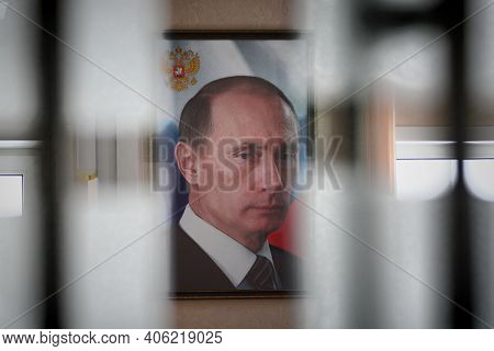Moscow, Russia-september 24, 2019.a Portrait Of Vladimir Putin, The President Of Russia, Hangs On Th