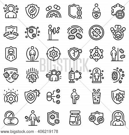 Antibiotic Resistance Icons Set. Outline Set Of Antibiotic Resistance Vector Icons For Web Design Is