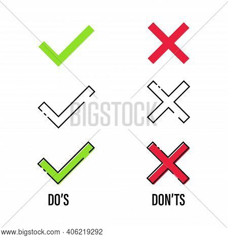Checkmark Cross On White Background. Isolated Vector Sign Symbol. Checkmark Icon Set