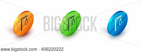 Isometric Gallows Rope Loop Hanging Icon Isolated On White Background. Rope Tied Into Noose. Suicide