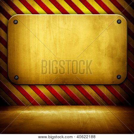 golden background with warning stripes