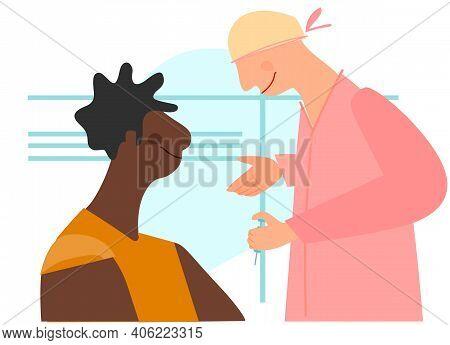 Vaccination Time Concept. Stop Coronavirus Concept. Doctor Prepairing To Inoculate Black Female Pati