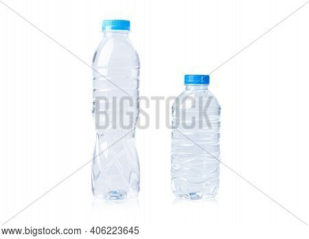 Plastic Water Bottle Big And Small Size Isolated On White Background.
