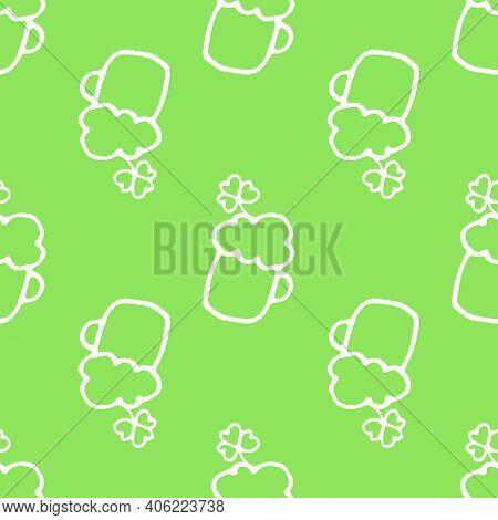 Line Art Beer Clover Doodle Pattern For Celebration Decoration Design. Hand-drawn Floral Pattern. Do