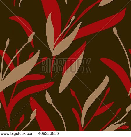 Seamless Pattern With Hand-drawn Red And Beige Plants And Branches On Dark Green Background. Elegant