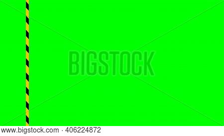 Caution Tape Stripe On Green Screen Background, Green Screen Video And Safety Strip, Warning Tape Li