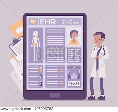 Electronic Health Record, Ehr Digital Patient Tablet Chart, Male Doctor. New Technology To Replace P