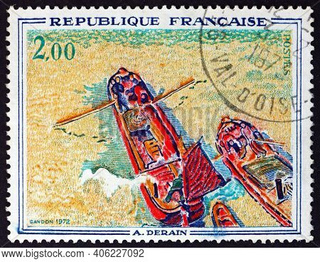 France - Circa 1972: A Stamp Printed In France Shows Boats, Painting By Andre Derain, French Painter