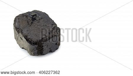 Coal Fuel Briquette Isolated On White Background.